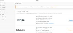 Weebly store checkout