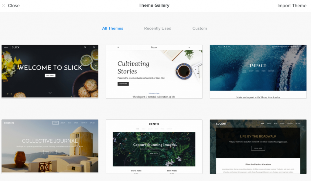 Theme gallery