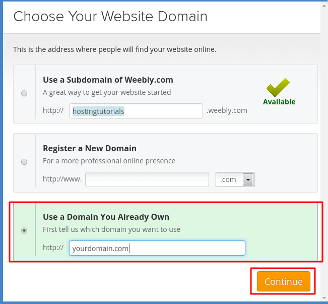 Weebly domain change