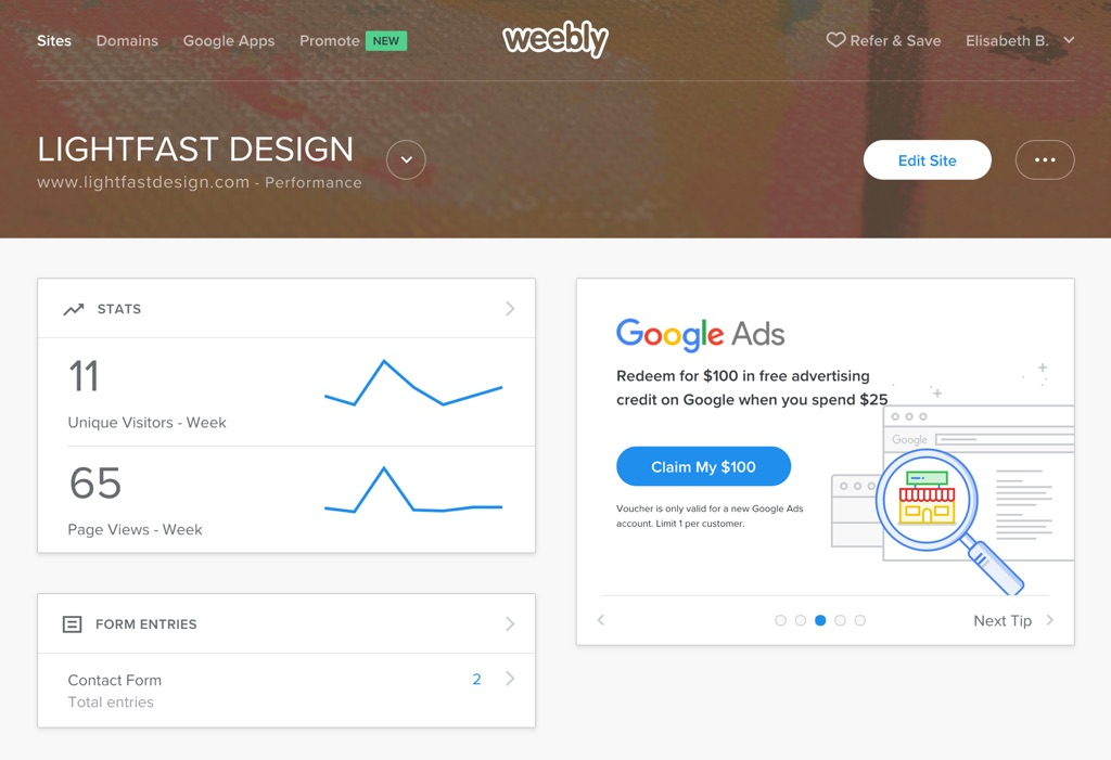 Weebly Site Dashboard