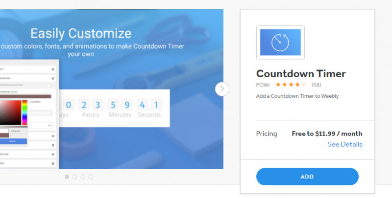 add countdown timer to weebly
