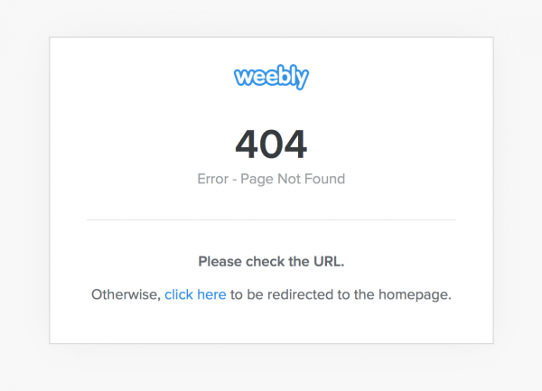 Weebly 404 error